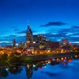 See Nashville's skyline and notable landmarks illuminated at night